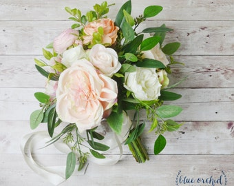 Boho Wedding Bouquet - Silk Wedding Bouquet, Peony Bouquet, Bridal Bouquet, Silk Bouquet, Pink, Peach, Cream, Greenery, Wedding Bouquet