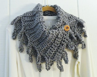 Crochet Button Scarf Cowl Heather Gray Wood Button Loopy Fringe Neckwarmer Scarflette