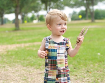 Madras Plaid Baby Outfit - Boys Shortall - Baby Boy Clothes - Baby Boy Romper - Boys Jon Jon - Baby Boy Patchwork Plaid Outfit - Summer Baby