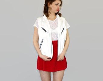 90s Ralph Lauren vest. White sleeveless coat. Vintage vest. Golf vest. Lauren Active fully zipped vest.