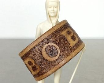 Bob ID Bracelet - Tooled Leather Cuff - Size Large