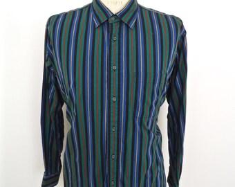 Vintage Burberrys Stripe Dress Shirt / blue green black red yellow striped long sleeve / men's large-XL
