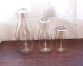 Vintage glass milk bottles one quart one pint half pint set of three