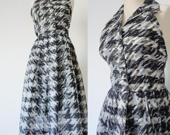 Vtg 50s Sheer HOUNDSTOOTH Halter Dress with LOW BACK! Small to Medium