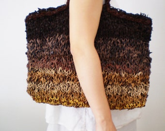 Boho leather bag ,  knitted leather,  tote bag brown,genuine leather handmade women knitting bag