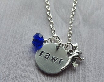 Blue Velociraptor Rawr Raptor Necklace