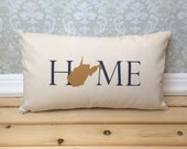 West Virginia Pillow, Long Pillow, Home Pillow, State Pillow, Home Decor, House Warming Gift, House Warming Pillow, Custom Pillow, Lumbar