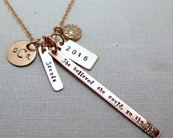 She Believed She Could So She Did, Graduation Gifts, Inspirational Graduation Gift, Gifts for Her, Rose Gold Necklace, Graduation Necklace
