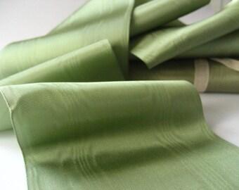 1 YARD  - antique  sage green  silk taffetà moirè wide ribbon