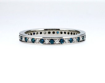 Teal and white diamond eternity wedding band made from white gold, teal diamond ring, diamond wedding band, unique, blue diamond anniversary