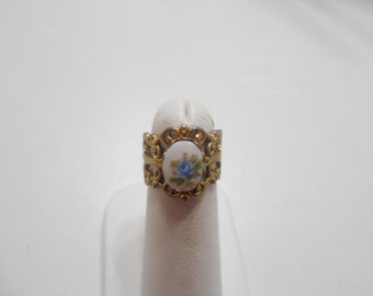Vintage Blue Rose Adjustable Ring (2250)