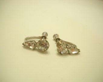 Vintage Rhinestone Screw Back Earrings (8245)