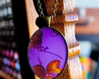 Psychedelic Jellies - Handmade photo pendant necklace resin oval bronze - far out fiery retro groovy 70s jellyfish