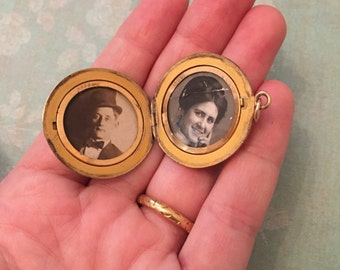 Antique Locket, Basket Weave Locket with Initial L & Old Photos, Gift for Her