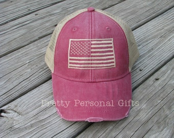 American Flag Trucker Hat -  distressed patriotic baseball hats