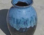 Black and Blue Vase, hand thrown stoneware pottery vase, ceramic vase, home decor, Mother's Day Gift, Hostess gift, Gifts for Her