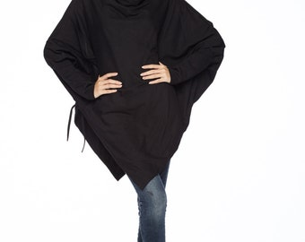 NO.59 Black Cotton Jersey Batwing Tunic, Loose Asymmetrical Sweater, Women's Top