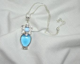 Blue Bottle Focal Necklace Delicate Beautiful Glass Focal Pendant