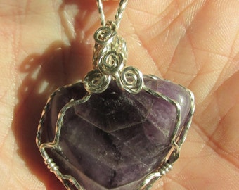 Amethyst  pendent wire wrapped in Argentium Silver wire.