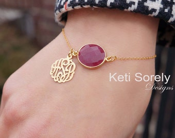 Gemstone Bracelet with Monogram Initials Charm, Onyx, Ruby, Pearl, Sapphire, Rose Quartz, Emerald - Sterling Silver, Yellow or Rose Gold