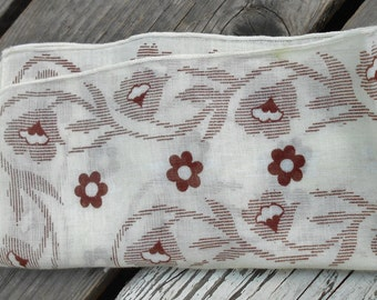 1940s ladies hankie vintage handkerchief in cream and floral browns  Free USA Shipping