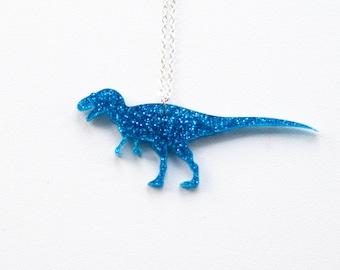 Dinosaur Glitter Medium T-Rex Necklace. Laser Cut Acrylic Dinosaur Necklace. Pendant Necklace. Statement Necklace. Gifts for her.