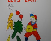Vintage 1957 School Poster    Health Series, Set 1 - Primary Grades    Let's Eat!    Hayes School Publishing Co    Wilkinsburg, PA    USA