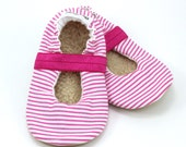 striped mary janes, baby girl shoes, pink and white, mary jane baby shoes pink striped shoes elastic baby shoes for girl toddler mary janes