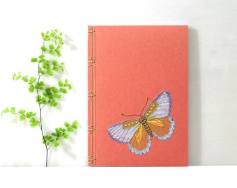 Butterfly. Embroidered A5 Notebook. Stitch Art. Butterfly Journal. Butterfly Notebook. Nature Notebook. Spring Journal. Stitch Art Notebook