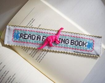 """DIY Cross Stitch Bookmark Kit """"Read a F--king Book"""". Funny Cross Stitch. MATURE"""
