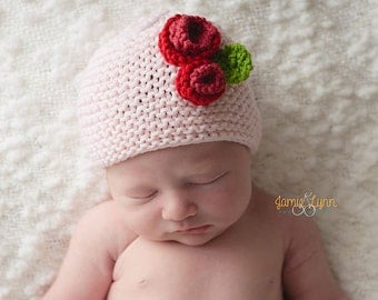 Baby Girl Photo Prop, Baby Girl Spring Pink Hat,Newborn Photo Prop, Newborn Pink Knit Hat,Pink Baby Girl Hat with Flowers, Baby Girl Hat