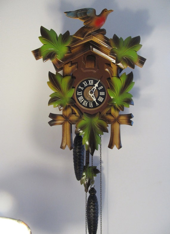 Vintage German Black Forest Cuckoo Clock Hand Carved Wooden