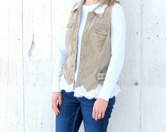 Womens Vest - Lace Vest - Upcycled clothing womens size large - Altered khaki jacket - recycled repurposed shabby chic clothes - romantic