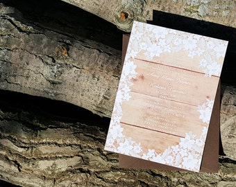 Rustic Wedding Invitation - Rustic Lace Wedding Invitation sample {Washington design}