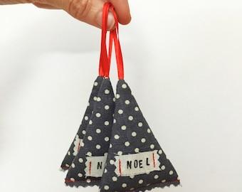 Modern rustic Christmas decoration - Christmas tree ornament - dark grey polka dots - handprinted NOEL message - scandi style Christmas