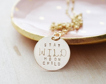 Stay Wild Moon Child Necklace - Gold Moon Jewelry - Satellite Chain Necklace - Moon Shadow, Moonshadow - Unique Inspirational Jewelry