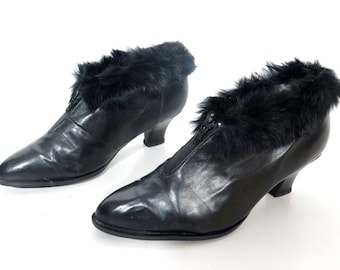 Vintage Black Leather and Natural Fur Shoes Size 39