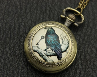Necklace Pocket watch Raven and key Gothic