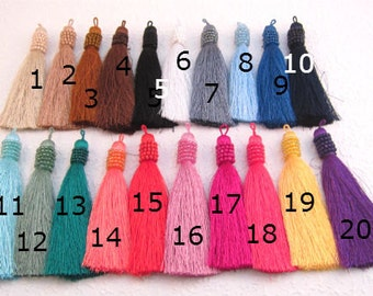 "Beaded Tassels NEW COLORS Luxury Tassels for Jewelry Making,Handmade Designer Quality  Jewelry Tassels, Mala Tassels  4"" Tassels 20 Colors"