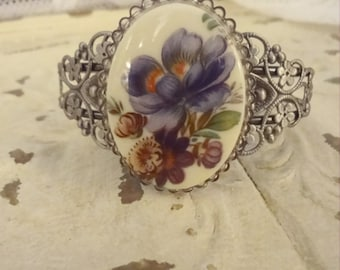 Blue Floral Cameo Cuff Bracelet, Silver Filigree Cuff Bracelet, Ecofriendly Jewelry, Art to Wear, Shabby Chic Jewelry, Bertha Louise Designs