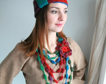 Crochet necklace. Colorful Necklace. Neck Warmer. Scarf. Multicolor necklace . Woolly. FREE SHIPPING!
