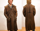 70s Brown Leather Duster, Drovers Coat, Australian Outback Coat, Distressed Leather Coat, Stephen Dattner, Size Large