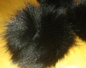 Black Fox Pom Pom - Authentic, Genuine Fox Fur Pompom, Natural Fox Fur ball, large 4 inch fox balls, keychain hat Accessory