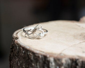 Rough Uncut Natural Diamond Ring with Sterling Silver Swirly Swirls 14k Yellow Gold Leaf Elvish Engagement Ring Unique Curlicue Filigree