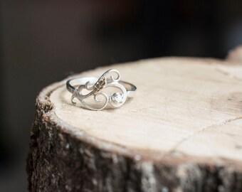 swirly elvish silver ring raw uncut natural diamond ring sterling swirls 14k yellow gold leaf engagement ring unique curlicue filigree - Elvish Wedding Rings