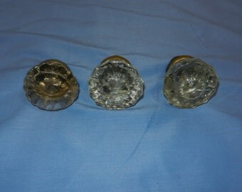 3 Vintage glass Door Knobs