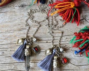 Crystal necklace, bohemian tassel jewelry, boho jewelry, quartz point necklace, bohemian jewelry, gift for her