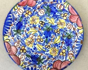 Vintage Faience plate, Spanish Faience, Lemons and olives, Italian Faience, Bright blue plate, Pink plate, Blue faience