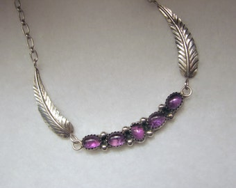 "Vintage SOUTHWESTERN Style AMETHYST and Sterling Silver Feather/Wing Necklace -- 9.4g, 18"" Long, February Birthstone"