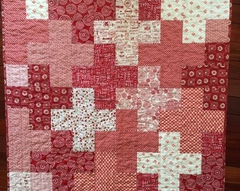 Red and Cream modern plus patchwork baby toddler girl quilt blanket